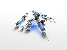 Injection, syringe, medicine. Objects, 3D vector illustration