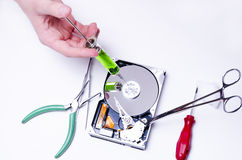 Injection in to hard drive Royalty Free Stock Image