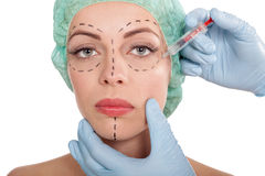 Injections of botox and cosmetic surgery concept Royalty Free Stock Image