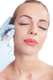 Injections of botox, woman having beauty treatment Royalty Free Stock Photos