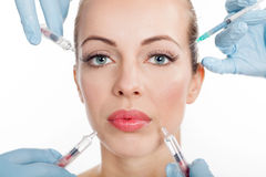 Injections of botox, woman having beauty treatment Royalty Free Stock Images