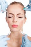Injections of botox, woman having beauty treatment Royalty Free Stock Photo