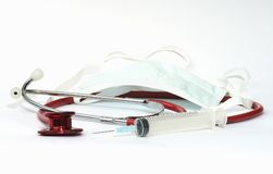 injektionsspruta för munskyddsstetoskop arkivbild