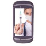 injektionsspruta för doktorsinjektiontelefon Fotografering för Bildbyråer