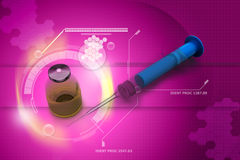 Injektionsspruta och medicin royaltyfri illustrationer