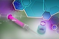 Injektionsspruta och medicin vektor illustrationer