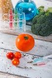 Injektionsspruta och tomat mat som ändras genetiskt Arkivbilder