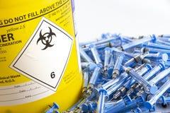 Injektionssprutor och Glatiramer acetatliten medicinflaska royaltyfri bild