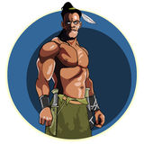 Injun with bare muscular torso Stock Photos