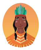 Injun character. Native american, feather and culture tribal, chief human, flat vector illustration Stock Image