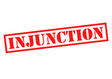 INJUNCTION. Red Rubber Stamp over a white background Royalty Free Stock Photos