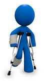 Injured 3d Man with Crutches and Cast Royalty Free Stock Image