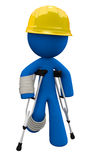 Injured 3d Man with Crutches and Hard Hat stock illustration
