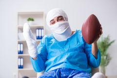The injured american football player recovering in hospital stock images