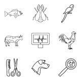 Injured animal icons set, outline style. Injured animal icons set. Outline set of 9 injured animal vector icons for web isolated on white background vector illustration