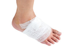 Injured Ankle With Bandage. Stock Photography