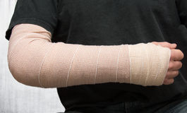 Injured arm. An injured arm wrapped from wrist to elbow Stock Images