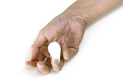 Injured bandaged finger  on white Royalty Free Stock Images
