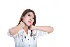 Injured beautiful woman with neck pain Royalty Free Stock Image