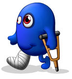 An injured blue monster. Illustration of an injured blue monster on a white background royalty free illustration