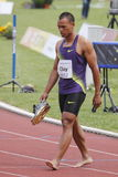 Injured Bryan Clay. Fro USA in 100 metres discipline that he surrendered due to the muscle strain during the 4th TNT-Fortuna IAAF decathlon meeting in Kladno Stock Photos