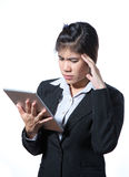 Injured business woman with headache, migraine, stress Royalty Free Stock Photos