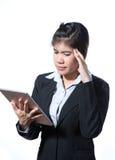 Injured business woman with headache , migraine, stress Stock Photo