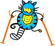 Injured Cat. Cute cartoon illustration of cat with a broken leg and crutches Royalty Free Stock Image
