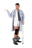 Injured caucasian man doctor Stock Images