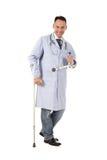 Injured caucasian man doctor Royalty Free Stock Images