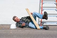 Injured construction worker Stock Images