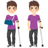 Injured Crutches Boy. Cute teenager boy injured with crutches and bandaged arm vector illustration