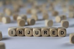 Injured - cube with letters, sign with wooden cubes Royalty Free Stock Photography
