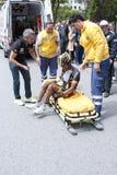 Injured cycler Stock Photo
