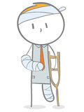 Injured. Doodle stick figure: Injured business man in plaster with the help of crutches vector illustration