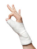 Injured Finger. With OK sign Stock Photography