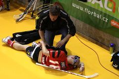 Injured floorball player Stock Photos