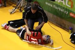 Injured floorball player Stock Photos