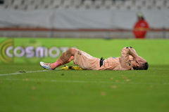 Injured football player Royalty Free Stock Photo