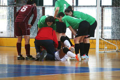 Injured futsal player Royalty Free Stock Photography