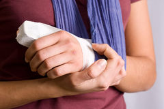 Injured hand Stock Photo