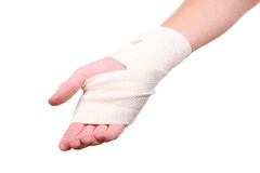 Injured hand with bandage Stock Photo
