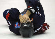 Injured ice hockey player Stock Images