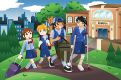 Injured kid walking home from school on crutches. A vector illustration of injured kid walking home from school on crutches and his friends help him carrying his Stock Photos
