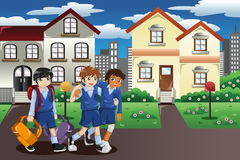 Injured kid walking home from school. A vector illustration of injured kid walking home from school and his friends help him carrying his books and bag Royalty Free Stock Image