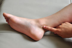 Injured leg ankle Stock Images