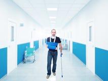 Injured man. Portrait of caucasian injured man in hospital stock photos