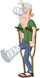 Injured man. In bandages and cast walking with crutches royalty free illustration