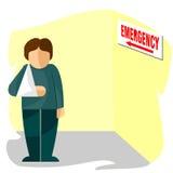 Injured man in bandages modern flat design. Injured man in bandages going out from emergency room flat design Stock Photos