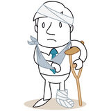 Injured man in bandages. Vector illustration of a monochrome cartoon character: Sad looking man with a broken leg and bandaged arm and head Royalty Free Stock Photo